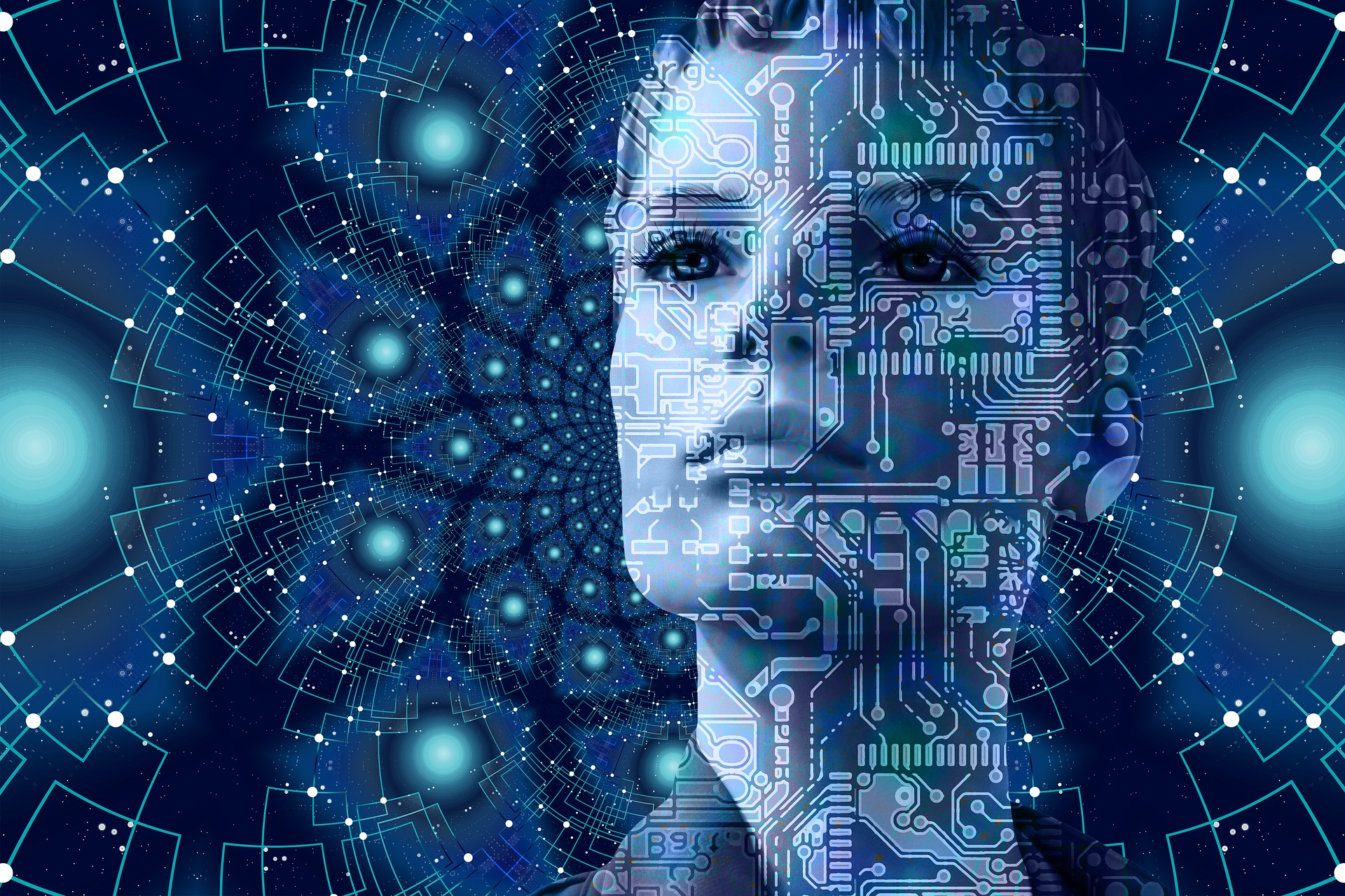 Gesicht hinter digitaler Vernetzung